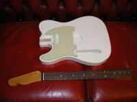 Replacement tele body and neck, lefthanded olympic white nitro © 2017 42nd Street Guitars